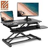 PUTORSEN Ergonomischer höhenverstellbarer Sitz-Steh-Arbeitsplatz Schreibtisch Computer Riser Work...