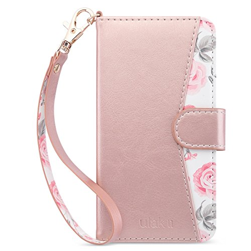 ULAK iPhone 6/6s Hülle Premium Lederhülle Flip Cover Tasche Brieftasche Schutzhülle Magnet Handyhülle Standfunktion mit Kartenfächer case Kompatibel für iPhone 6/iPhone 6s - Roségold