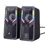KOPOU Altavoces de ordenador, 5 W para juegos con modos de ritmo RGB multiluz, control de volumen de fácil acceso, altavoces estéreo de 3,5 mm con alimentación por USB para PC/laptops