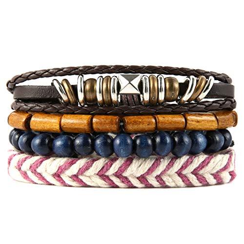 HZMAN Mix 4 Wrap Bracelets Men Women Hemp Cords Wood Beads Weave...
