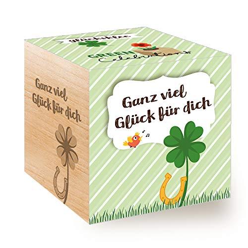 Feel Green Celebrations Ecocube, Glücksklee, Holzwürfel Mit Lasergravur «Ganz Viel Glück Für Dich», Nachhaltige Geschenkidee, Anzuchtset, Made in Austria
