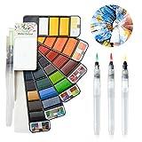 Fuumuui Set de Pintura de Acuarela 33 Colores con Set de Pinceles de Acuarela de 3 Piezas, Set de Arte Profesional para la Bolsa de Viaje, Set de Pintura de Acuarela portátil