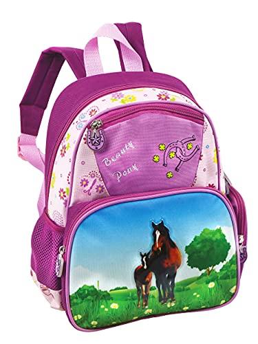 STEFANO Kinder Reisegepäck Trolley Kitatasche Rucksack Brustbeutel 4 TLG. Set Pony/Pferd pink rosa -präsentiert von RabamtaGO®- (Rucksack)