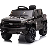 Kidzone 12V Battery Powered Licensed Chevrolet Silverado Trail Boss LT Kids Ride On Truck ATV Car, Toddler Electric Vehicles Toys w/ Remote Control, MP3/Bluetooth, Spring Suspension, LED Light, Black