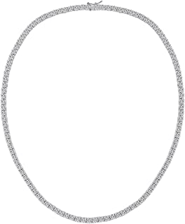 4mm Men CZ Tennis Chain Hip Hop Necklace White Gold Plated Chains for Women 18 in