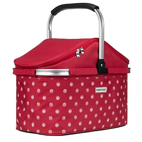 anndora Einkaufskorb 25 Liter Isolierkorb Picknick Kühlkorb - rot weiß gepunktet
