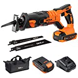 TACKLIFE 20V MAX Cordless Reciprocating Saw, 2A Lithium Battery & Charger, 0-3000SPM Variable Speed, Tool-Free Blade Change, 4/5' Stroke Length, Portable Bag- RES004