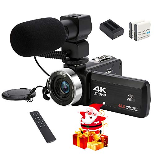 """Ultra HD 4K 48MP Portable Video Camera Camcorder with Audio Input(Microphone), Digital WiFi Vlogging Camera for YouTube, 3.0"""" Touch LCD, IR Night Vision, 2.4 G Remote, and 2 Batteries"""