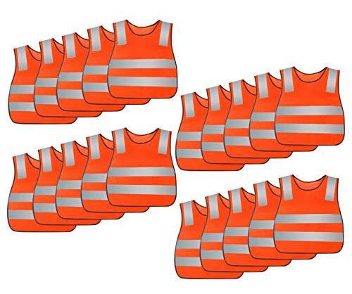 AIEOE Chaleco de seguridad para niños, de alta visibilidad, reflectante, con cierre de velcro, 5/10/15/20 unidades Naranja...
