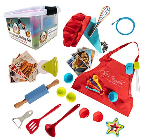 Rikis kingdom Kids Deluxe 50-Piece real bakingcooking set in a storage box with recipesCupcake cupsdecorating kitCookie CuttersMeasuring SpoonswhiskRolling Pin Kids set with Apron&chef Hat