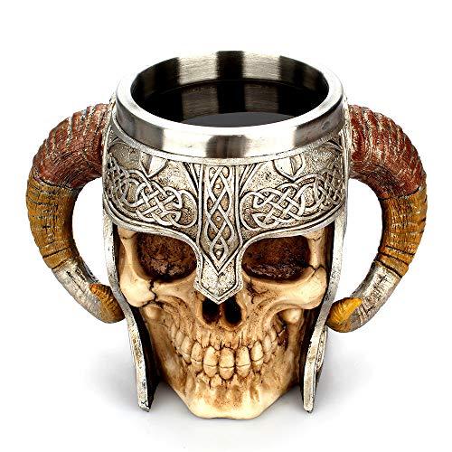FAMILIZO Tazas Taza De Café De Resina Sorprendente Guerrero Tankard Viking Cráneo Doble Pared Copa De Navidad
