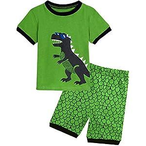 BECOS 男の子 パジャマ ルームウェア 恐竜 上下セット 綿100 半袖 (3歳, 緑恐竜)