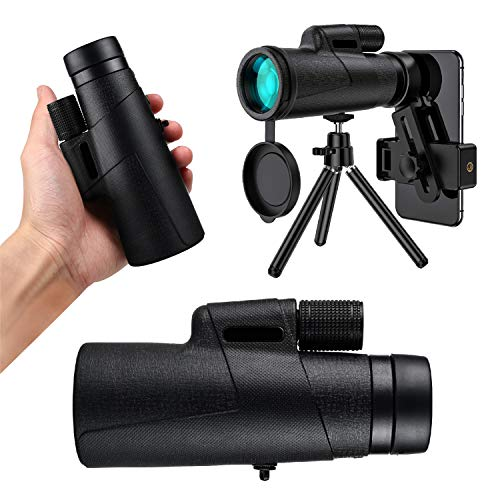 TENESA Monocular Telescope 12x50 High Power for Adults with Night Version BAK4 Prism, Waterproof Fog-proof Dustproof Equiped with Smartphone Adaptor & Tripod, Suitable for Hiking, Camping, Sightseeing