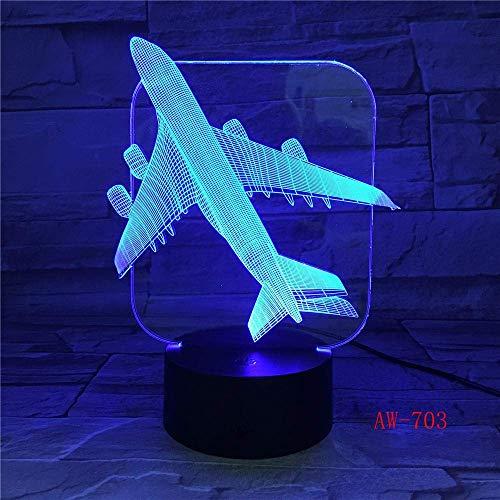 Air Plane 3D Light Tischleuchte Optische Täuschung Nachtlicht 7 Farben Stimmungswechsel Lampe Salz Lampe mit Bewegungssensor Aw-703