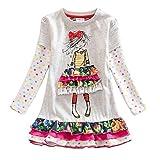 VIKITA Vestito Ricamo Floral Manica Lunga Cotone Bambina LH3660 4T