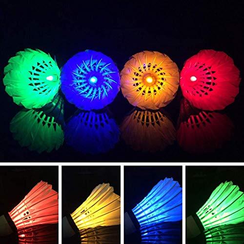 LED Badminton, Haltbar Leuchtend Federball, Federball Dunkel Leuchten Im Dunkeln Beleuchtung Badminton für Draußen Drinnen Sport Aktivitäten - 4 pcs