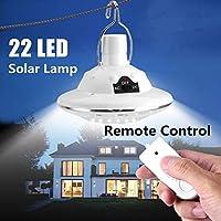 22 LEDソーラーパワードヤードハイキングテントライト屋外キャンプ吊りランプ付き3.7 v / 1 wリモートコントロール純白ソーラーパネル