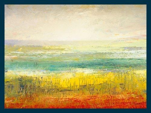 Bild mit Rahmen Jane Morten - Only a Summers Day - Digitaldruck - Holz blau, 80 x 60cm - Premiumqualität - Landschaften, Naive Malerei, Büro, Arzt, Soziale Einrichtungen - MADE IN GERMANY - ART-GALERIE-SHOPde
