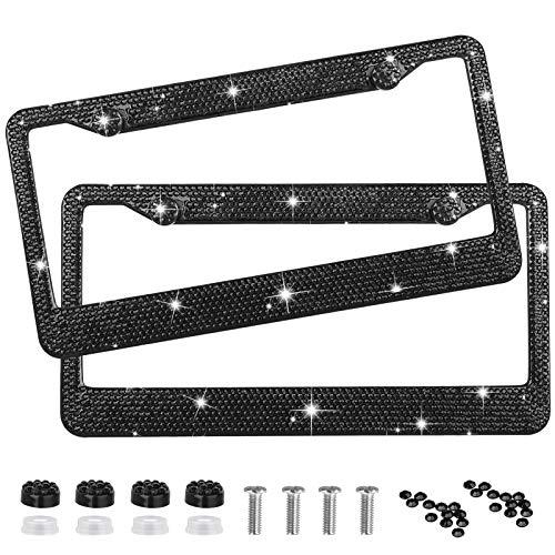 Black Metal Two Hole Car Truck Universal License Plate Frame Pair w// Screws Kit