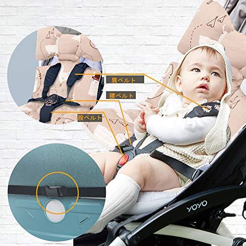 MiracleBabyベビーカーシートベビーカークッション【春夏秋冬通用リバーシブル用ベビーカーマットコットン・3Dメッシュ製】赤ちゃんクッションサポートチャイルドシート新生児保護クッションギフト(アルパカ)