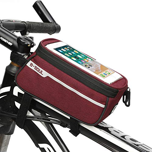 Waterproof Bike Pouch Phone Holder Transparent Touchable Pouch Case Bike Frame Phone Holder Bag fit for 6 Inchs Smartphone Mobile Phone Sat Nav GPS Mount (Red Wine)
