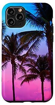 iPhone 11 Pro Pretty Purple Pink Blue Tropical Sunset Palm Tree Paradise Case