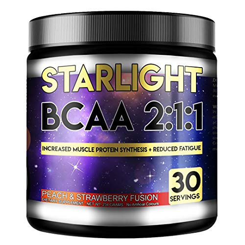 Perihelion Nutrition Starlight BCAA 2:1:1 Amino Acids Supplement Vegan 30 Servings L-LEUCINE, L-ISOLEUCINE, L-VALINE (Peach & Strawberry)