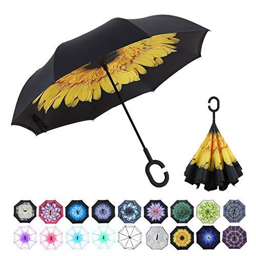 WASING Doppellagiger umgekehrter Regenschirm fürs Auto, winddicht, UV-Schutz, großer gerader Regenschirm für Auto-Regen im Freien mit C-förmigem Griff, A-sunflowerIII