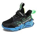 SMajong Zapatillas de Deporte Nios Nias Zapatillas de Correr Transpirables Zapatos para Caminar al Aire Libre Zapatillas de Tenis Negro 27 EU
