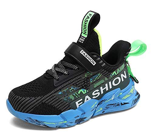 SMajong Zapatillas Deportivas para Niños Niñas Ligeras Calzado Zapatos de Correr Transpirable Antideslizante Zapatos de Running Deportes de Exterior Interior Negro 34 EU