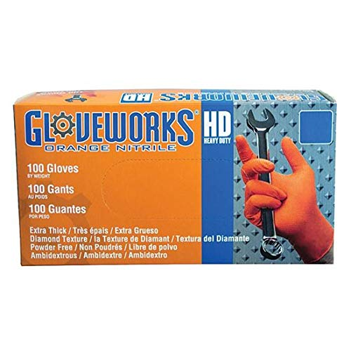 Gloveworks GWON48100 Orange X-Large Heavy Duty Nitrile Gloves