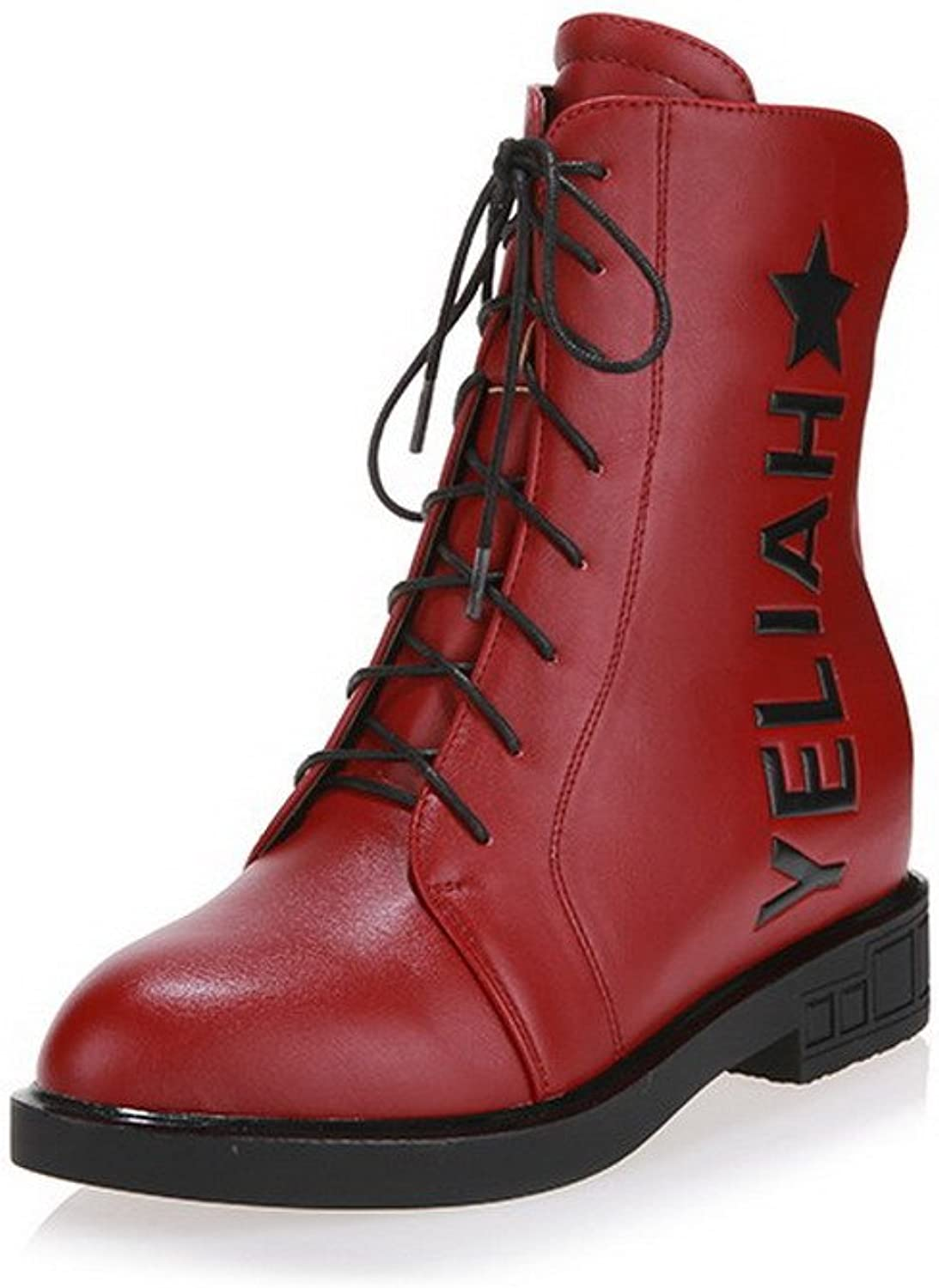 WeiPoot Women's Solid Closed-Toe Boots with Zippers and Platform