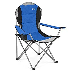 DESIGNED FOR SUPERIOR SUPPORT & COMFORT: Sit back, relax and enjoy the great outdoors in comfort with the Kestrel Deluxe Camping Chair from Trail Outdoor Leisure. Designed with a high backrest to reduce aches, alleviate pains and provide superior lum...