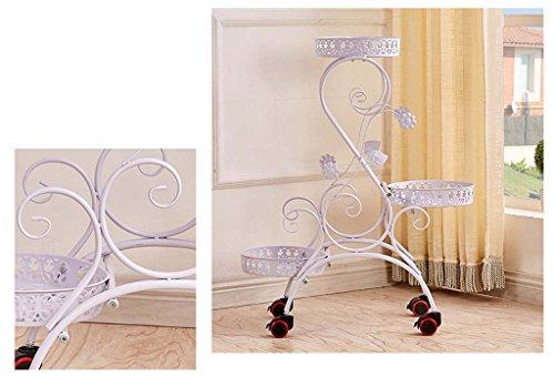 réa Fer continental multicouche mobile plancher coulissant porte-pot de fleurs voyantes Balcon ( Couleur : Blanc )
