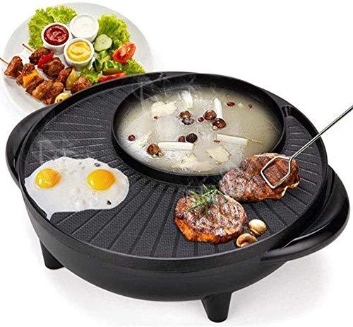 KAYBELE 220V Barbacoa eléctrica Parrilla Non Stick Plate Barbacoa Pan Hot Pot Hotpot Hotpot Máquina Cena Cena Partnic Picnic Sartén