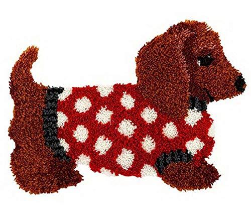 XLLHY Kits alfombras con Gancho pestillo Bricolaje Estera Peluda Kits fabricación alfombras Conjunto Bordado Alfombra para niños Adultos Principiantes (Perro),52 * 38cm/20 * 15in