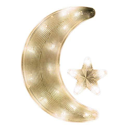Fensterbild Mond mit Stern mit Saugnapf beleuchtet 20 LED Leuchtfarbe warm weiß Mondsichel Weihnachtsdeko Weihnachtsbeleuchtung Batterie