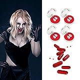 per Set de dentadura de Vampiro de Halloween Kit de Maquillaje de Dientes Cápsula de Sangre Zombie Ghost Devil Devil Werewolf Colmillos para Fiesta de Halloween Cosplay