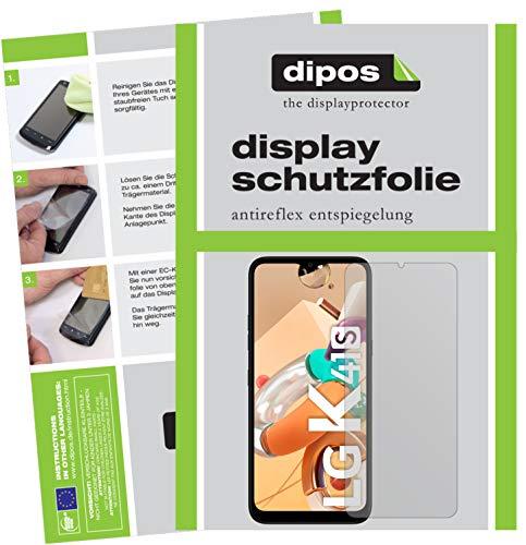 dipos I 2X Schutzfolie matt kompatibel mit LG K41S Folie Bildschirmschutzfolie (bewusst Kleiner als das Glas, da Dieses gewölbt ist)