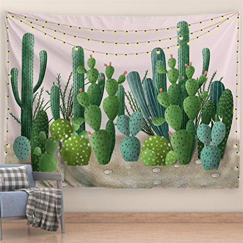PROCIDA Cactus Tapestry Green Watercolor Nature Wall Tapestry Pink Art Beach Blanket Table Clothe for Dorm Bedroom Living Room College with Nails 80' W x 60' L, Pink Cactus