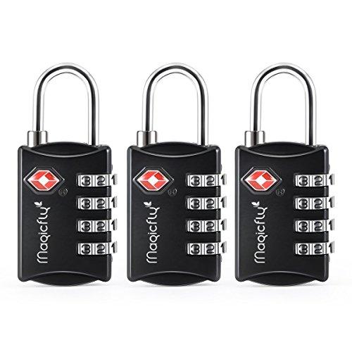 Magicfly–Codes TSA Lock 3Digit Combination Padlocks For Suitcases And Bags Noir - Lot de 3