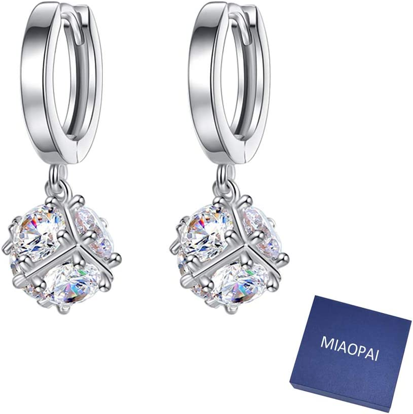 MIAOPAI Christmas Earrings Gift 925 Women's Crystal Cube Silver Fresno Mall Max 41% OFF