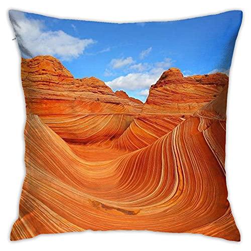 Fundas de almohada decorativas The Wave Rock Arizona, fundas de almohada cuadradas con cremallera oculta para sofá, cama y coche