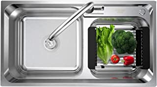 FANGFHOME évier Évier à légumes en Acier Inoxydable Évier à Double Bain de Grande capacité Évier de Cuisine Évier épaissi ...