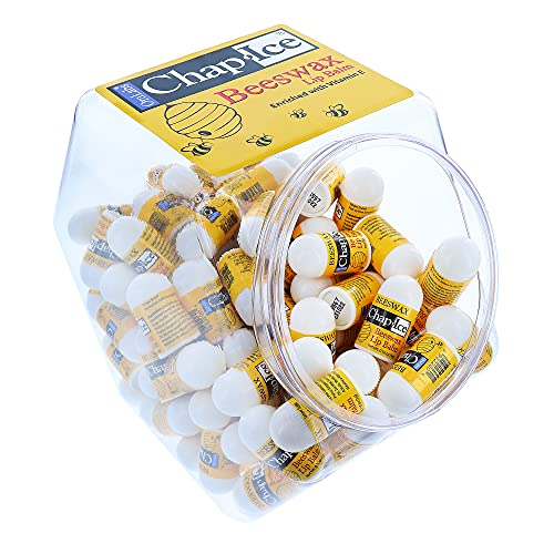 Chap-Ice | Premium and Traditional Lip Balm for Chapped, Dry, or Windburned Lips | Beeswax Pocket Size Fishbowl - 120 Mini Sticks (0.10oz/3g)