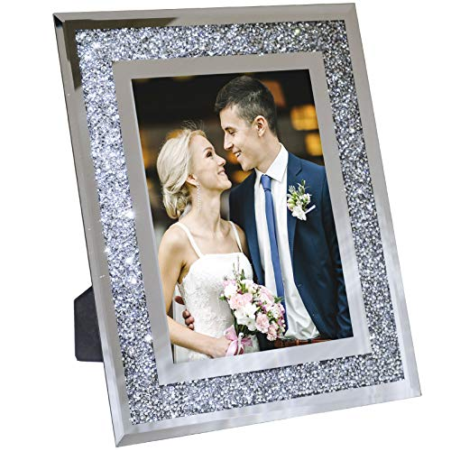 Decorative Picture Frame 8'x10' Photo Holder Glass Mirror with Sparkling Crystal Boarder. Use Standing with Included Easel or Ready to Hang.