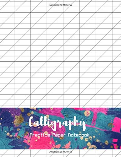 Calligraphy Practice Paper Notebook 2 styles - slanted angle lined, Creative Lettering and Beyond, 200 sheets pad of Modern Calligraphy - Oil painting dark blue and magenta