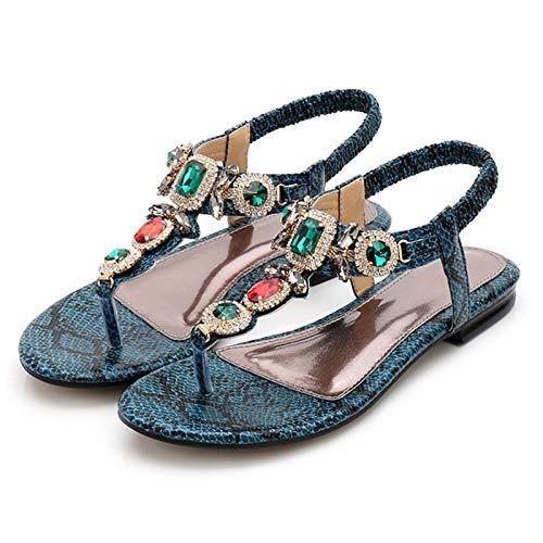Sandalias para Mujer para Movimiento a pie Verano Ligero Casual Talón Pendiente Zapato Bohemia Roma Elegante Moda Shoe para Playa y Piscina y Pool (Color : Green, Size : 37)