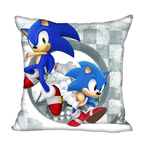 FENGHU Schallkissen Sonic The Hedgehog Square Kissenbezug mit Reißverschluss Kissenbezug