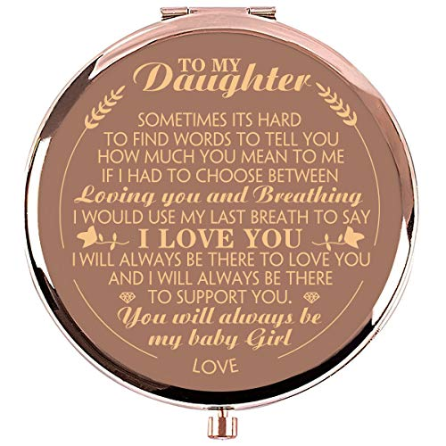 Ueerdand Daughter Gifts from Mom and Dad, Birthday Graduation Gifts for Her, Christmas Holiday Sentimental Present for Women Girls, Rose Gold Purse Pocket Makeup Compact Mirror